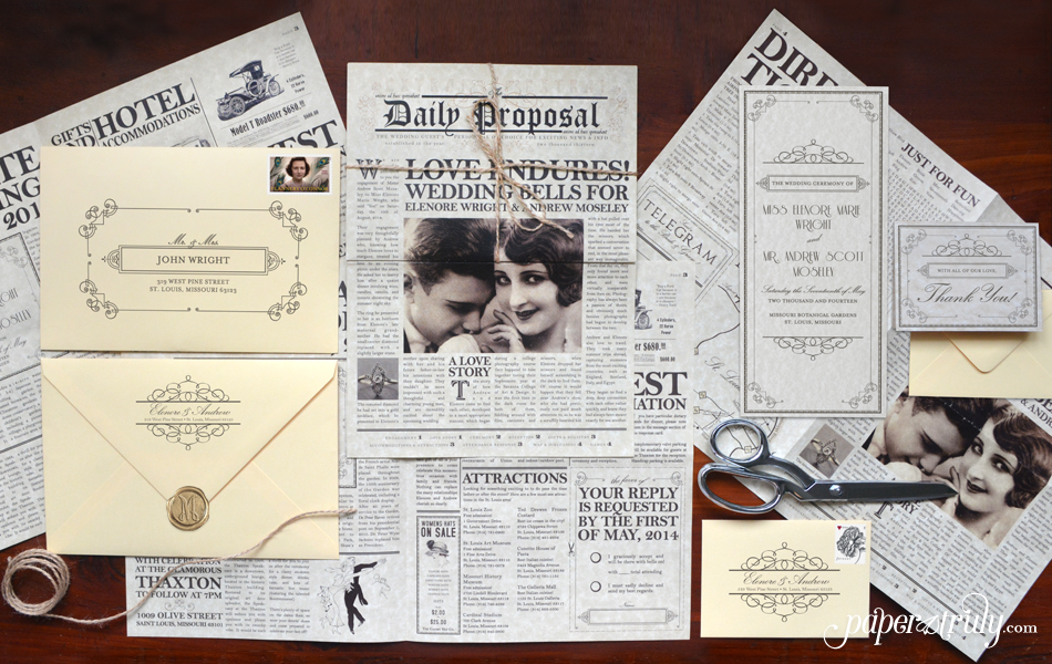 The Daily Proposal Newspaper Wedding Invitation