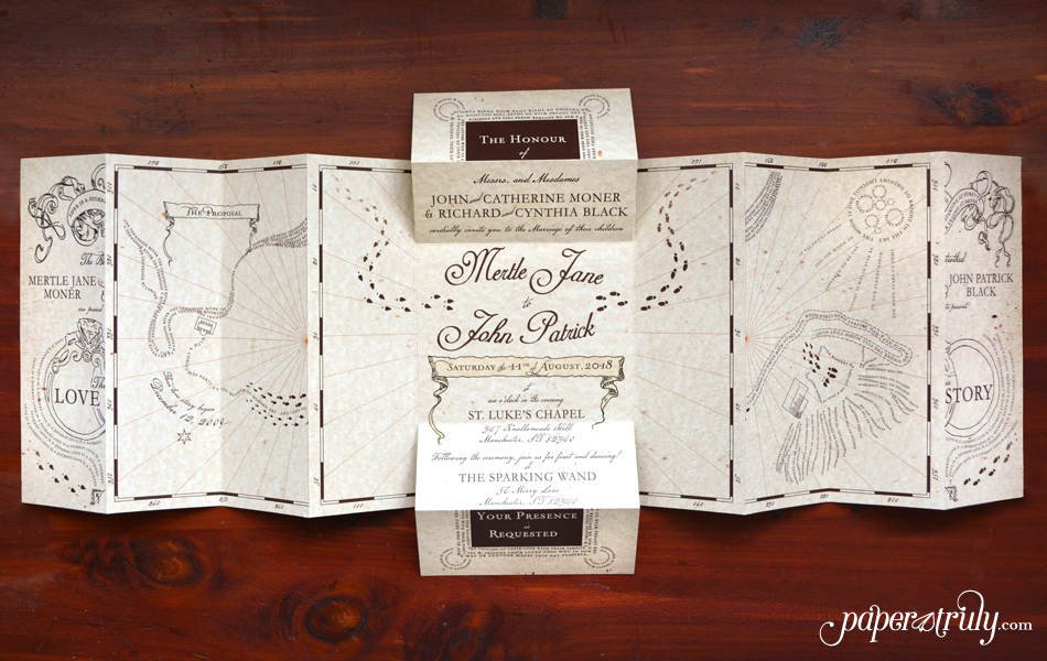 the envelope design is inspired by the howler letter prop from the films i couldnt pass up the wonderful ribbon and wax seal detailing - Harry Potter Wedding Invitations