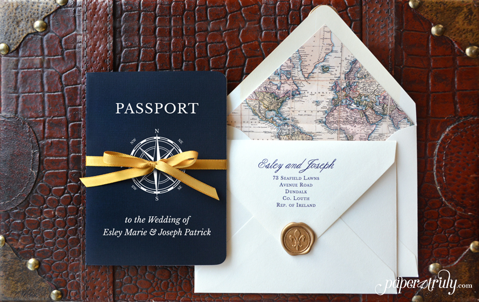 Come Away With Me - Passport Wedding Invitation