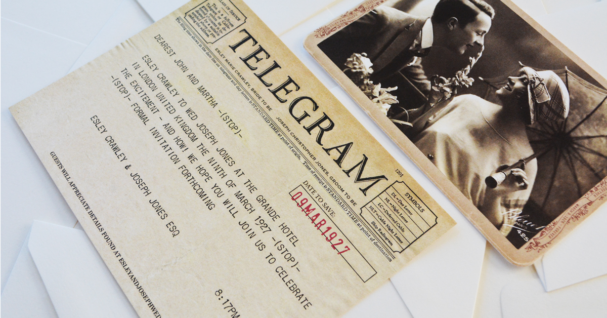 Paper Truly Creates Telegram Save Date -(STOP)-