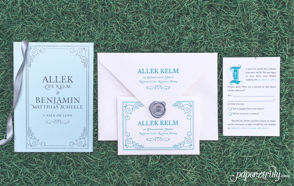 fairytale storybook wedding invitation paper truly