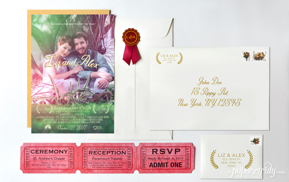 Premiere Movie Poster Wedding Invitation Paper Truly